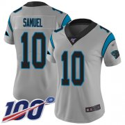 Wholesale Cheap Nike Panthers #10 Curtis Samuel Silver Women's Stitched NFL Limited Inverted Legend 100th Season Jersey