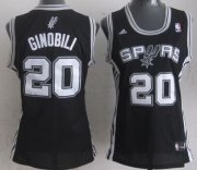 Wholesale Cheap San Antonio Spurs #20 Manu Ginobili Black Womens Jersey