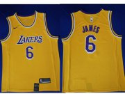 Wholesale Cheap Men's Nike Los Angeles Lakers #6 LeBron James Purple Number Yellow Stitched NBA Jersey