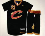 Wholesale Cheap Men's Cleveland Cavaliers #23 LeBron James Revolution 30 Swingman 2015-16 New Black Short-Sleeved Jersey(With-Shorts)