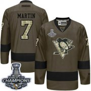 Wholesale Cheap Penguins #7 Paul Martin Green Salute to Service 2017 Stanley Cup Finals Champions Stitched NHL Jersey