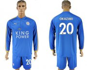 Wholesale Cheap Leicester City #20 Okazaki Home Long Sleeves Soccer Club Jersey