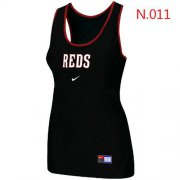Wholesale Cheap Women's Nike Cincinnati Reds Tri-Blend Racerback Stretch Tank Top Black