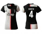 Wholesale Cheap Women's Juventus #4 Benatia Home Soccer Club Jersey