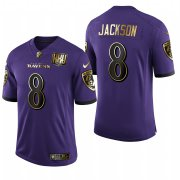 Wholesale Cheap Nike Baltimore Ravens #8 Lamar Jackson Purple Gold Vapor Untouchable Limited Jersey