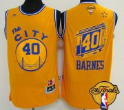 Wholesale Cheap Men's Golden State Warriors #40 Harrison Barnes Retro Yellow 2017 The NBA Finals Patch Jersey
