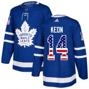 Wholesale Cheap Adidas Maple Leafs #14 Dave Keon Blue Home Authentic USA Flag Stitched NHL Jersey