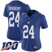 Wholesale Cheap Nike Giants #24 James Bradberry Royal Blue Team Color Women's Stitched NFL 100th Season Vapor Untouchable Limited Jersey