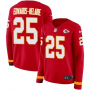 Wholesale Cheap Nike Chiefs #25 Clyde Edwards-Helaire Red Team Color Women's Stitched NFL Limited Therma Long Sleeve Jersey