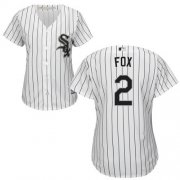 Wholesale Cheap White Sox #2 Nellie Fox White(Black Strip) Home Women's Stitched MLB Jersey