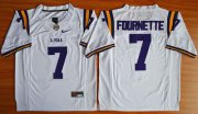 Wholesale Cheap LSU Tigers #7 Fournette White 2015 College Football Nike Limited Jersey
