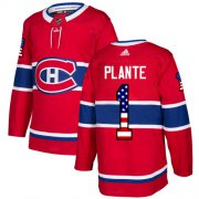 Wholesale Cheap Adidas Canadiens #1 Jacques Plante Red Home Authentic USA Flag Stitched NHL Jersey