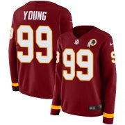 Wholesale Cheap Nike Redskins #99 Chase Young Burgundy Red Team Color Women's Stitched NFL Limited Therma Long Sleeve Jersey