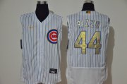 Wholesale Cheap Men's Chicago Cubs #44 Anthony Rizzo White Gold 2020 Cool and Refreshing Sleeveless Fan Stitched Flex Nike Jersey