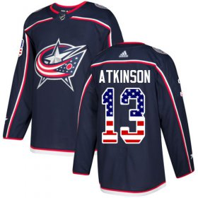 Wholesale Cheap Adidas Blue Jackets #13 Cam Atkinson Navy Blue Home Authentic USA Flag Stitched Youth NHL Jersey