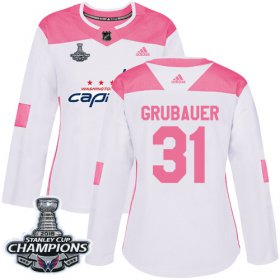 Wholesale Cheap Adidas Capitals #31 Philipp Grubauer White/Pink Authentic Fashion Stanley Cup Final Champions Women\'s Stitched NHL Jersey