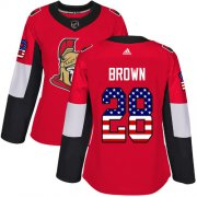 Wholesale Cheap Adidas Senators #28 Connor Brown Red Home Authentic USA Flag Women's Stitched NHL Jersey