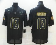 Wholesale Cheap Men's Los Angeles Chargers #10 Justin Herbert Black 2020 Salute To Service Stitched NFL Nike Limited Jersey
