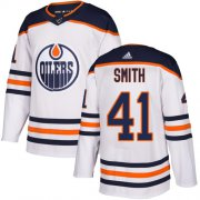 Wholesale Cheap Adidas Oilers #41 Mike Smith White Road Authentic Stitched Youth NHL Jersey