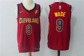 Wholesale Cheap Men\'s Cleveland Cavaliers #9 Dwyane Wade Burgundy Red 2017-2018 Nike Swingman Goodyear Stitched NBA Jersey