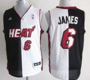 Wholesale Cheap Miami Heat #6 LeBron James Revolution 30 Swingman Black/White Two Tone Jersey