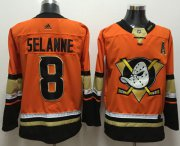 Wholesale Cheap Adidas Ducks #8 Teemu Selanne Orange Authentic Stitched NHL Jersey