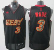 Wholesale Cheap Miami Heat #3 Dwyane Wade All Black With Orange Fashion Jersey