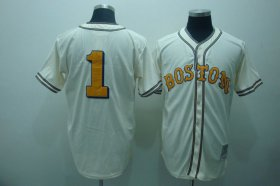 Wholesale Cheap Mitchell And Ness Red Sox #1 Bobby Doerr Cream Stitched MLB Throwback Jersey