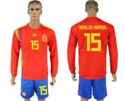 Wholesale Cheap Spain #15 Sergio Ramos Red Home Long Sleeves Soccer Country Jersey