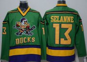 Wholesale Cheap Ducks #13 Teemu Selanne Green CCM Throwback Stitched NHL Jersey