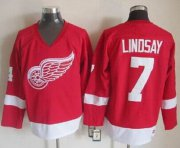 Wholesale Cheap Red Wings #7 Ted Lindsay Red CCM Throwback Stitched NHL Jersey