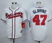 Wholesale Cheap Braves #47 Tom Glavine White Cool Base Stitched MLB Jersey