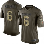 Wholesale Cheap Nike Browns #6 Baker Mayfield Green Men's Stitched NFL Limited 2015 Salute to Service Jersey