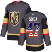 Wholesale Cheap Adidas Golden Knights #47 Luca Sbisa Grey Home Authentic USA Flag Stitched NHL Jersey
