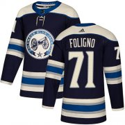 Wholesale Cheap Adidas Blue Jackets #71 Nick Foligno Navy Alternate Authentic Stitched Youth NHL Jersey
