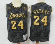 Wholesale Cheap Men's Los Angeles Lakers #24 Kobe Bryant Black Golden Hardwood Classics Soul Swingman Throwback Jersey