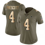Wholesale Cheap Nike Cowboys #4 Dak Prescott Olive/Gold Women's Stitched NFL Limited 2017 Salute to Service Jersey