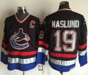 Wholesale Canucks #19 Markus Naslund Black/Blue CCM Throwback Stitched NHL Jersey