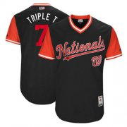 "Wholesale Cheap Nationals #7 Trea Turner Navy ""Triple T"" Players Weekend Authentic Stitched MLB Jersey"