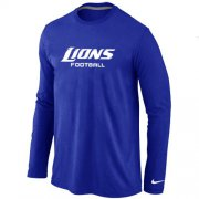 Wholesale Cheap Nike Detroit Lions Authentic Font Long Sleeve T-Shirt Blue