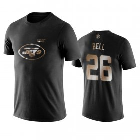Wholesale Cheap Jets #26 Le\'Veon Bell Black NFL Black Golden 100th Season T-Shirts
