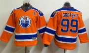 Wholesale Cheap Oilers #99 Wayne Gretzky Orange CCM Throwback Stitched Youth NHL Jersey