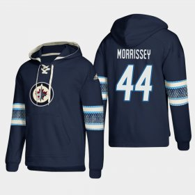 Wholesale Cheap Winnipeg Jets #44 Josh Morrissey Blue adidas Lace-Up Pullover Hoodie