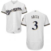 Wholesale Cheap Brewers #3 Orlando Arcia White Flexbase Authentic Collection Stitched MLB Jersey
