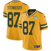 Wholesale Cheap Nike Packers #87 Jace Sternberger Yellow Men's 100th Season Stitched NFL Limited Rush Jersey