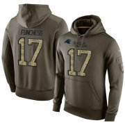 Wholesale Cheap NFL Men's Nike Carolina Panthers #17 Devin Funchess Stitched Green Olive Salute To Service KO Performance Hoodie