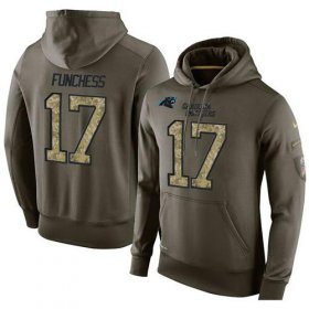 Wholesale Cheap NFL Men\'s Nike Carolina Panthers #17 Devin Funchess Stitched Green Olive Salute To Service KO Performance Hoodie