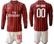Wholesale Cheap AC Milan Personalized Home Long Sleeves Soccer Club Jersey