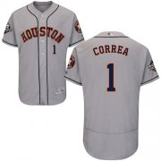 Wholesale Cheap Astros #1 Carlos Correa Grey Flexbase Authentic Collection 2019 World Series Bound Stitched MLB Jersey