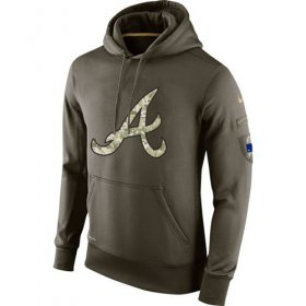 Wholesale Cheap Men\'s Atlanta Braves Nike Olive Salute To Service KO Performance Hoodie